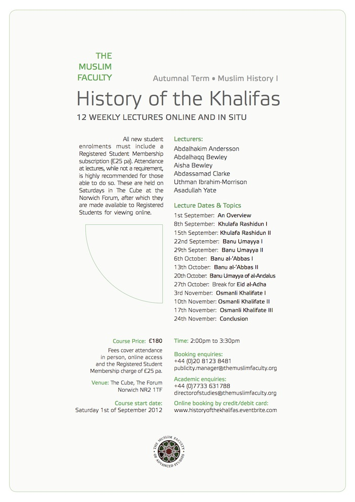 Muslim History I: The History of the Khalifas